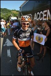 Jérôme Gilbert, ici avec notre logo sur le Tour de Wallonie 2013.