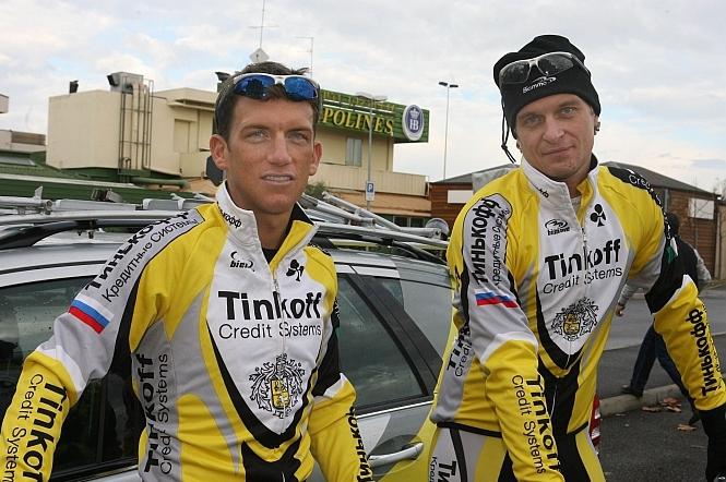"""Oleg et son premier """"gros"""" coup chez Tinkoff Credit Systems, Tyler Hamilton. © Roberto Bettini – Tinkoff-Saxo"""