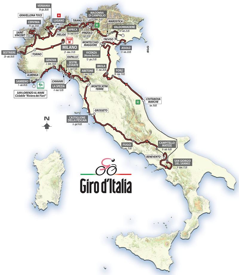 La carte de ce Giro d'Italia 2015