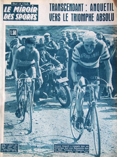 La une du Miroir des Sports avec le duel Anquetil-Bahamontès dans la Vieille Forclaz
